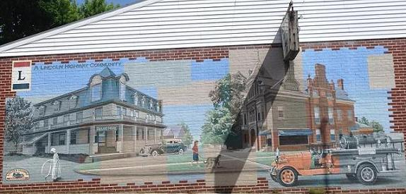 Mural of town near Gettysburg about a century ago, along U.S. Route 30.