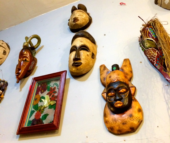 Voodoo masks at so-called spiritual temple I ran into near Marie Laveau's resting place.